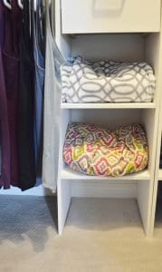 Minimalist closet makeover - meditation supplies