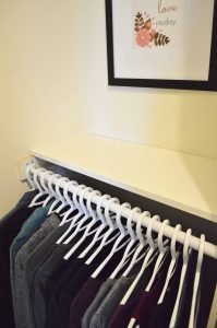 Minimalist closet makeover - shelf installed