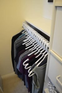 Minimalist closet makeover - shelf installed