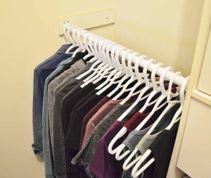 Minimalist Closet Makeover - all clothes on bottom bar
