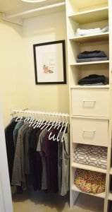 Minimalist closet makeover - print hung