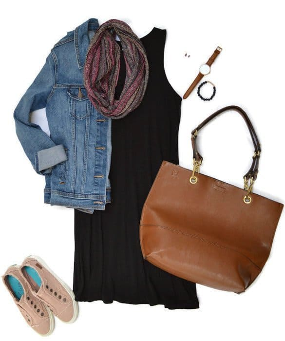 An example of how capsule wardrobe accessories change an outfit.